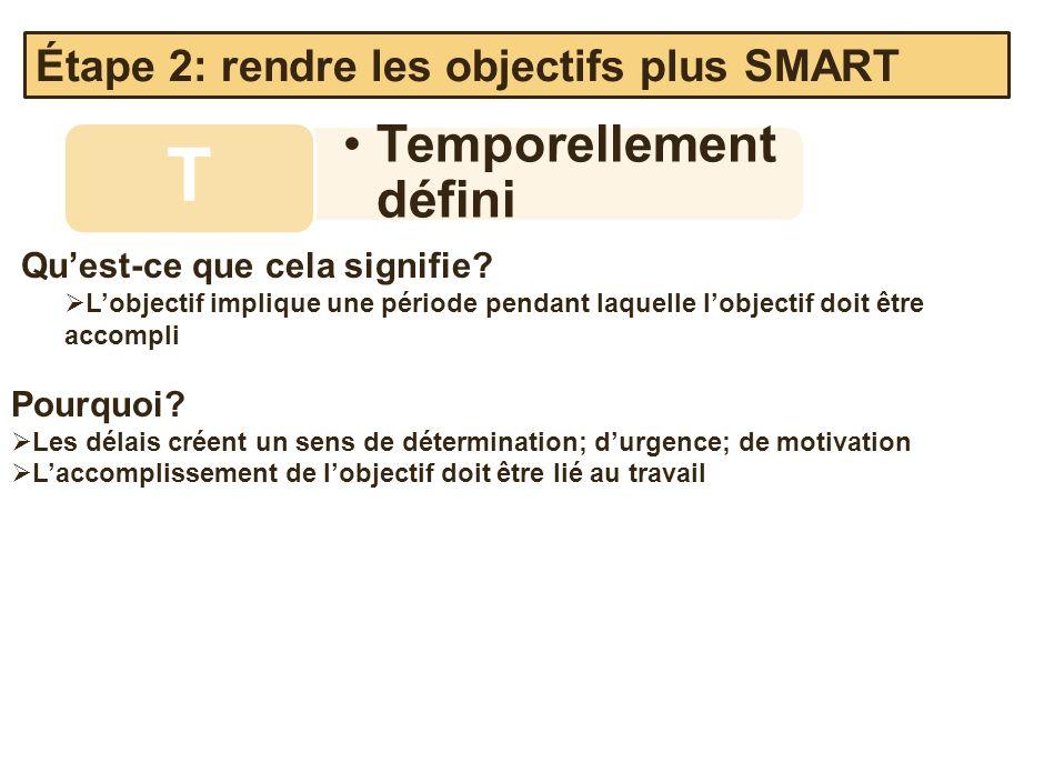 Temporellement défini T Quest-ce que cela signifie? Lobjectif implique une période pendant laquelle lobjectif doit être accompli Pourquoi? Les délais