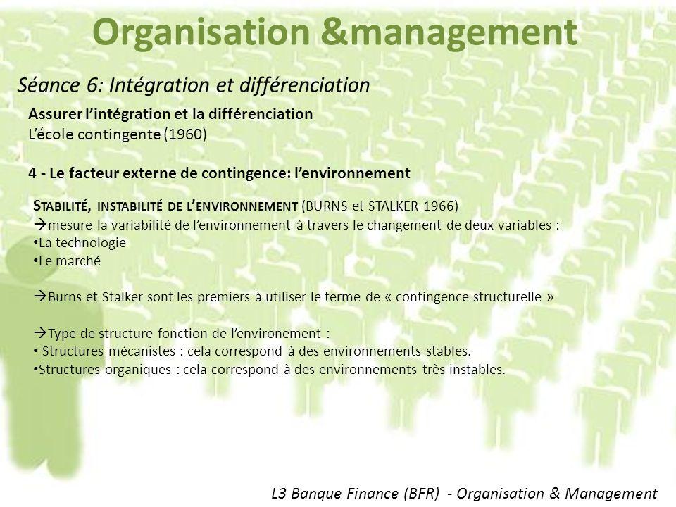 Organisation &management L3 Banque Finance (BFR) - Organisation & Management Séance 6: Intégration et différenciation Assurer lintégration et la différenciation Lécole contingente (1960) 4 - Le facteur externe de contingence: lenvironnement S TABILITÉ, INSTABILITÉ DE L ENVIRONNEMENT (BURNS et STALKER 1966) mesure la variabilité de lenvironnement à travers le changement de deux variables : La technologie Le marché Burns et Stalker sont les premiers à utiliser le terme de « contingence structurelle » Type de structure fonction de lenvironement : Structures mécanistes : cela correspond à des environnements stables.