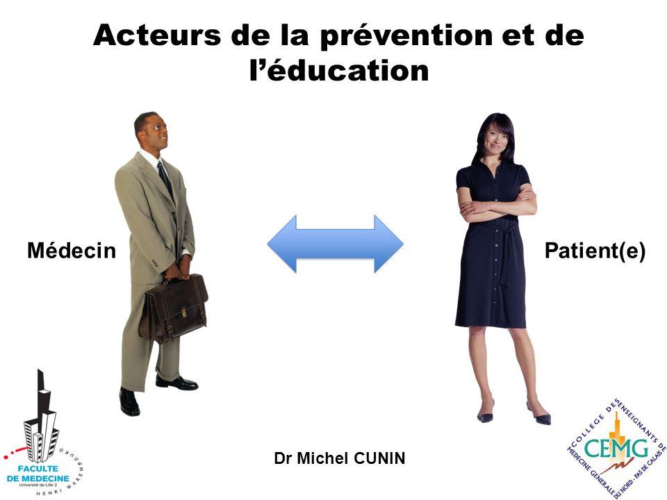 Dr Michel CUNIN Acteurs de la prévention et de léducation MédecinPatient(e)