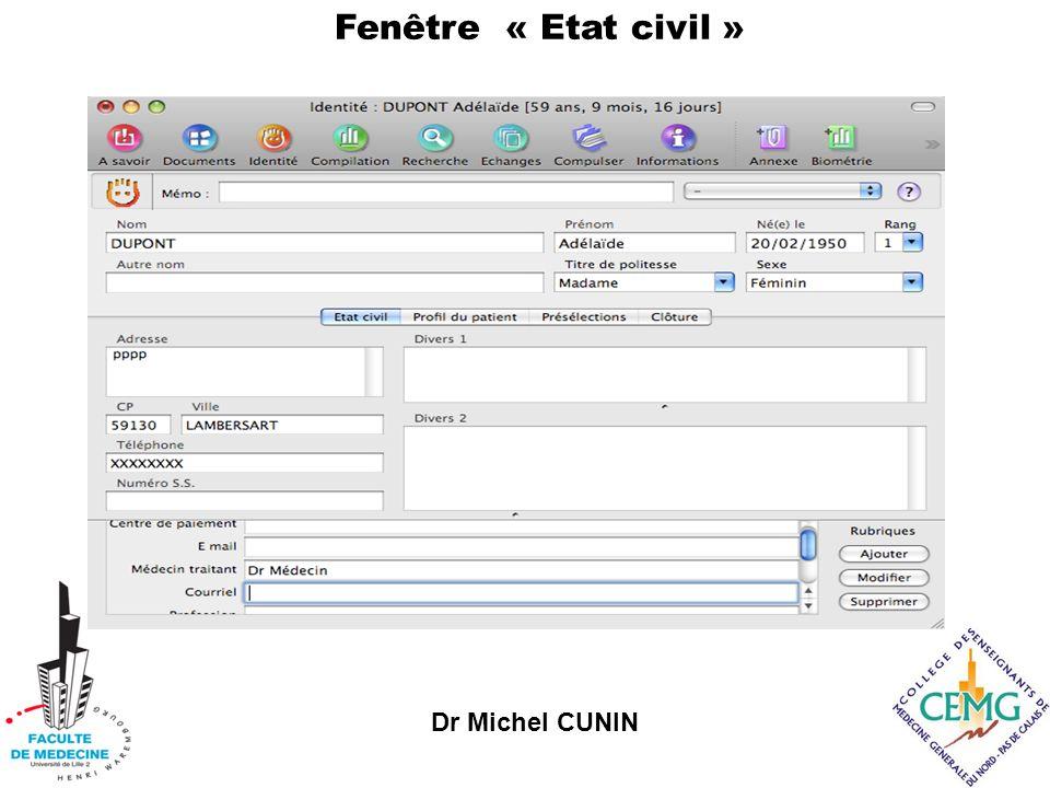 Dr Michel CUNIN Fenêtre « Etat civil »