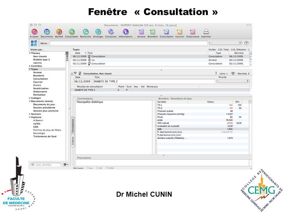 Dr Michel CUNIN Fenêtre « Consultation »