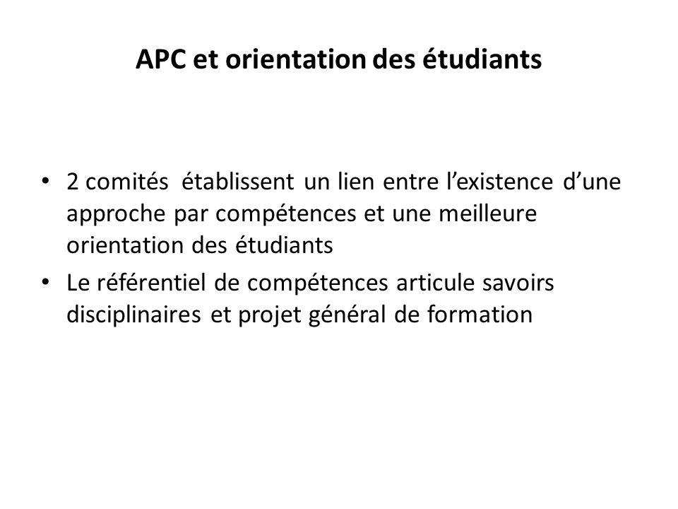 APC et orientation des étudiants 2 comités établissent un lien entre lexistence dune approche par compétences et une meilleure orientation des étudiants Le référentiel de compétences articule savoirs disciplinaires et projet général de formation