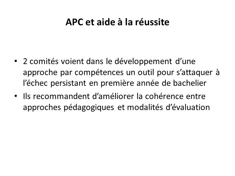 APC et aide à la réussite 2 comités voient dans le développement dune approche par compétences un outil pour sattaquer à léchec persistant en première année de bachelier Ils recommandent daméliorer la cohérence entre approches pédagogiques et modalités dévaluation