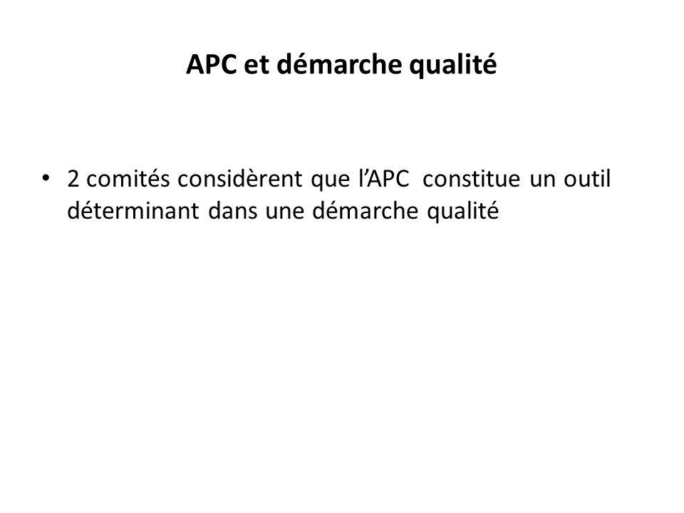 APC et démarche qualité 2 comités considèrent que lAPC constitue un outil déterminant dans une démarche qualité