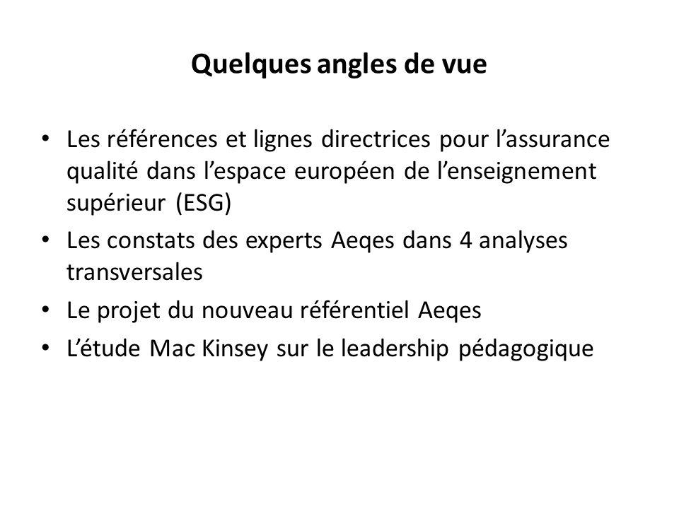 Quelques angles de vue Les références et lignes directrices pour lassurance qualité dans lespace européen de lenseignement supérieur (ESG) Les constats des experts Aeqes dans 4 analyses transversales Le projet du nouveau référentiel Aeqes Létude Mac Kinsey sur le leadership pédagogique