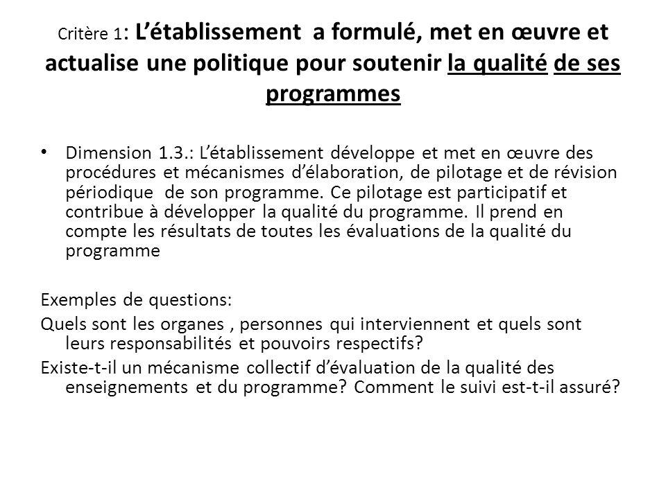 Critère 1 : Létablissement a formulé, met en œuvre et actualise une politique pour soutenir la qualité de ses programmes Dimension 1.3.: Létablissement développe et met en œuvre des procédures et mécanismes délaboration, de pilotage et de révision périodique de son programme.