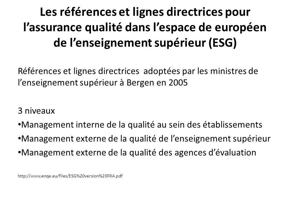 Les références et lignes directrices pour lassurance qualité dans lespace de européen de lenseignement supérieur (ESG) 1.2.