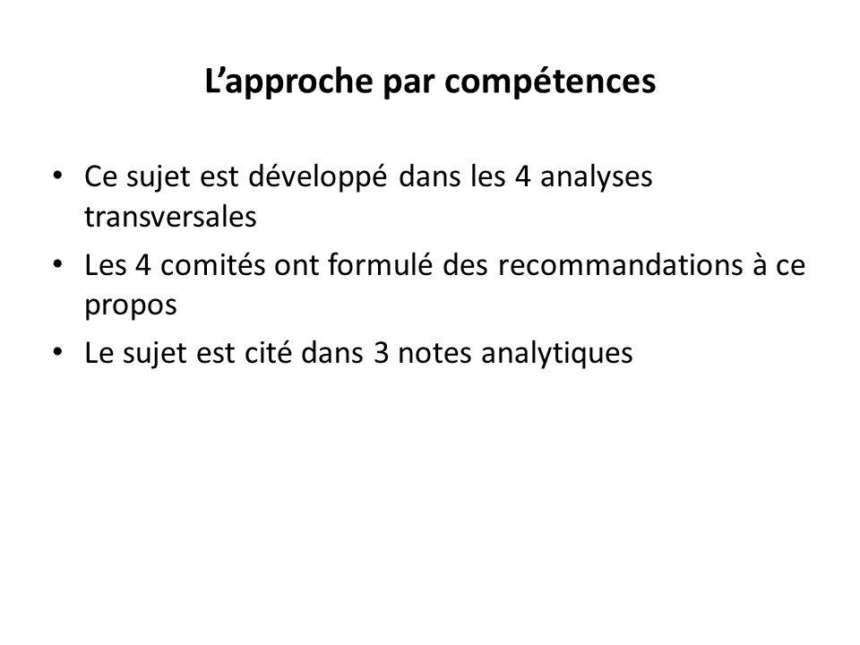 Lapproche par compétences Ce sujet est développé dans les 4 analyses transversales Les 4 comités ont formulé des recommandations à ce propos Le sujet est cité dans 3 notes analytiques