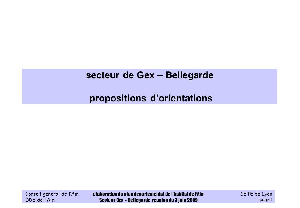 CETE de Lyon page 1 Conseil général de lAin DDE de lAin élaboration du plan départemental de lhabitat de lAin Secteur Gex - Bellegarde, réunion du 3 j