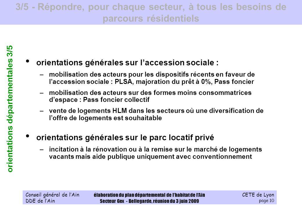 CETE de Lyon page 10 Conseil général de lAin DDE de lAin élaboration du plan départemental de lhabitat de lAin Secteur Gex - Bellegarde, réunion du 3