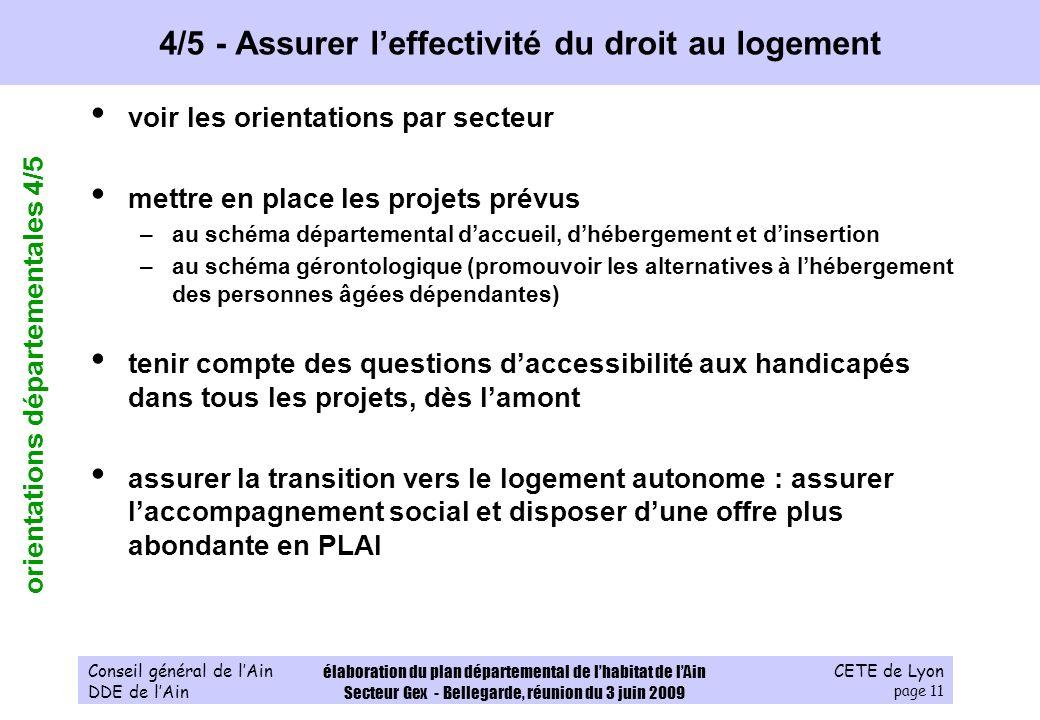 CETE de Lyon page 11 Conseil général de lAin DDE de lAin élaboration du plan départemental de lhabitat de lAin Secteur Gex - Bellegarde, réunion du 3