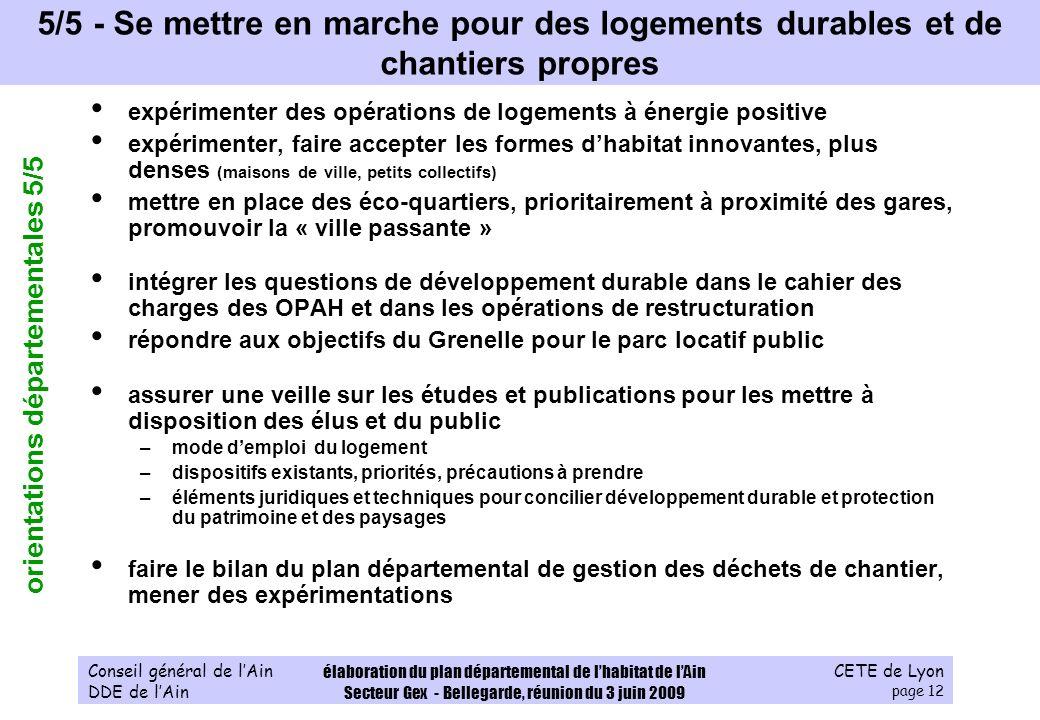 CETE de Lyon page 12 Conseil général de lAin DDE de lAin élaboration du plan départemental de lhabitat de lAin Secteur Gex - Bellegarde, réunion du 3