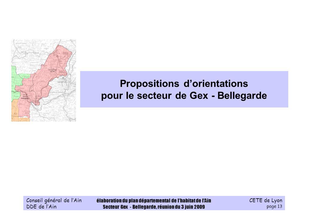 CETE de Lyon page 13 Conseil général de lAin DDE de lAin élaboration du plan départemental de lhabitat de lAin Secteur Gex - Bellegarde, réunion du 3