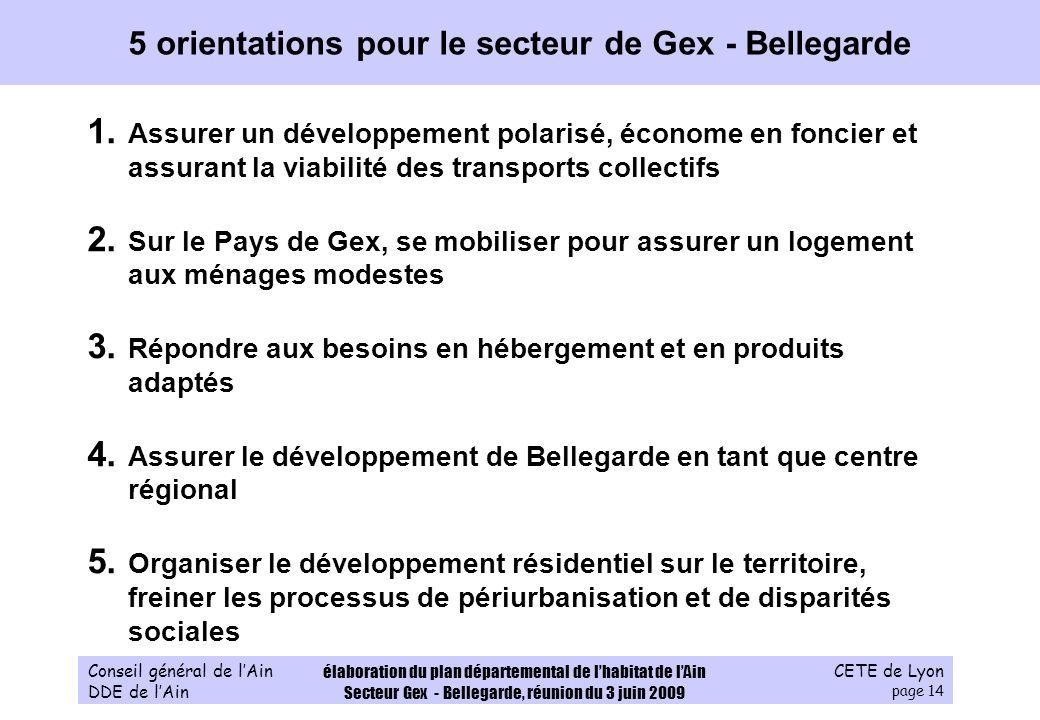 CETE de Lyon page 14 Conseil général de lAin DDE de lAin élaboration du plan départemental de lhabitat de lAin Secteur Gex - Bellegarde, réunion du 3