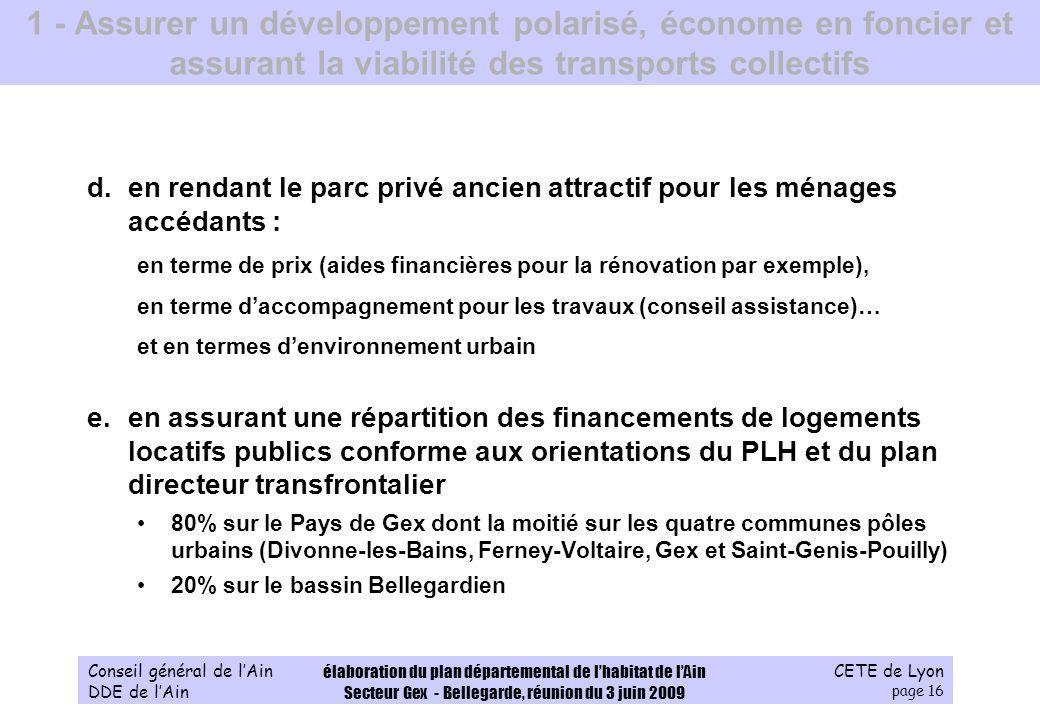CETE de Lyon page 16 Conseil général de lAin DDE de lAin élaboration du plan départemental de lhabitat de lAin Secteur Gex - Bellegarde, réunion du 3
