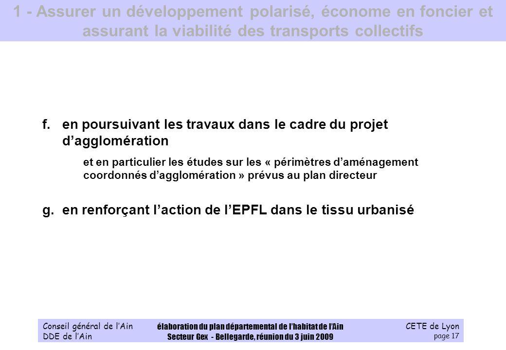CETE de Lyon page 17 Conseil général de lAin DDE de lAin élaboration du plan départemental de lhabitat de lAin Secteur Gex - Bellegarde, réunion du 3
