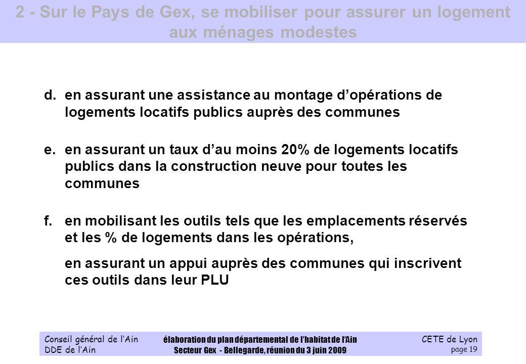 CETE de Lyon page 19 Conseil général de lAin DDE de lAin élaboration du plan départemental de lhabitat de lAin Secteur Gex - Bellegarde, réunion du 3