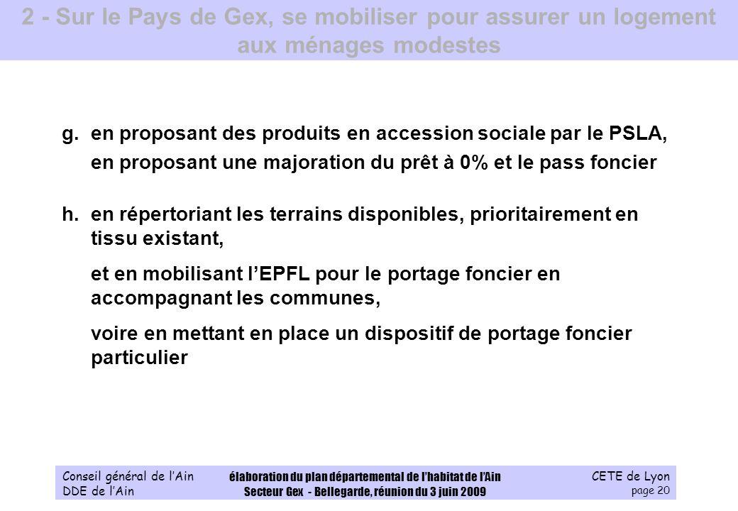 CETE de Lyon page 20 Conseil général de lAin DDE de lAin élaboration du plan départemental de lhabitat de lAin Secteur Gex - Bellegarde, réunion du 3