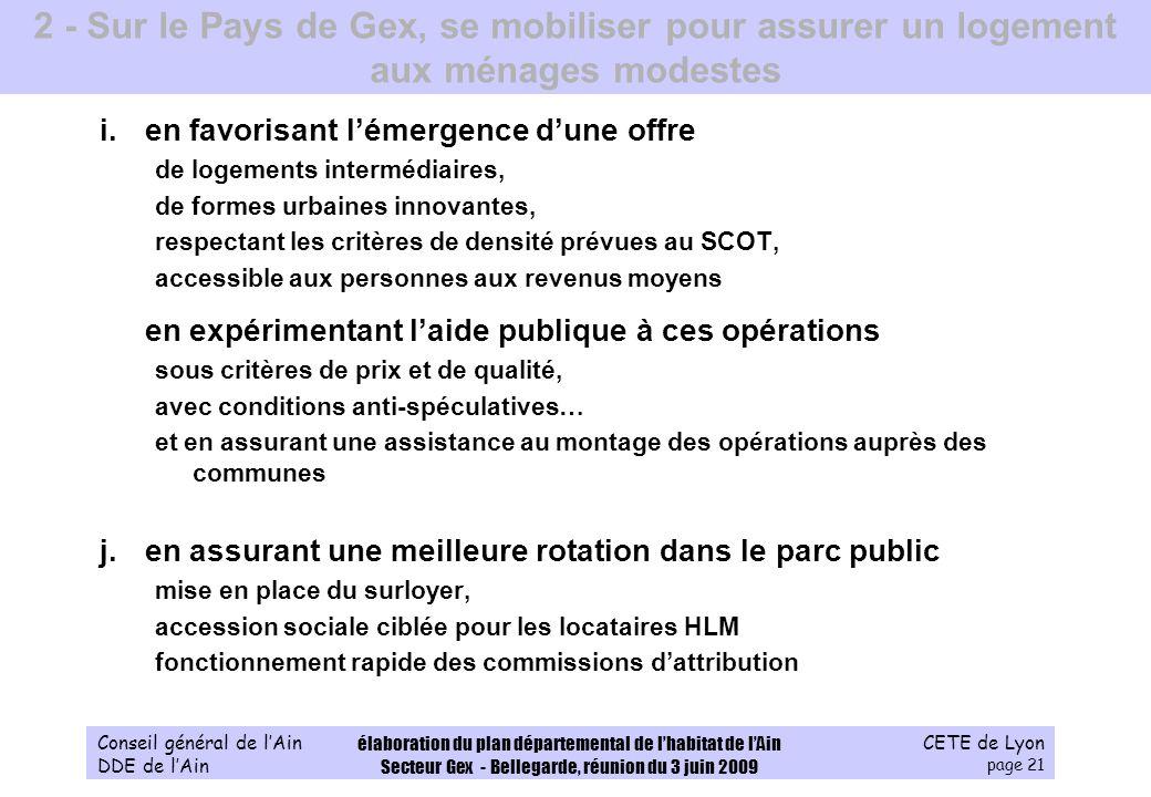 CETE de Lyon page 21 Conseil général de lAin DDE de lAin élaboration du plan départemental de lhabitat de lAin Secteur Gex - Bellegarde, réunion du 3
