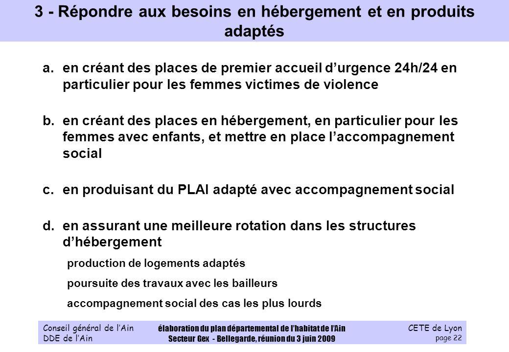 CETE de Lyon page 22 Conseil général de lAin DDE de lAin élaboration du plan départemental de lhabitat de lAin Secteur Gex - Bellegarde, réunion du 3