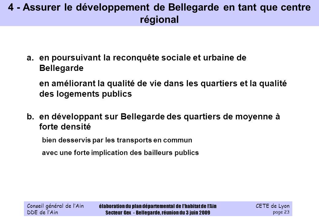 CETE de Lyon page 23 Conseil général de lAin DDE de lAin élaboration du plan départemental de lhabitat de lAin Secteur Gex - Bellegarde, réunion du 3