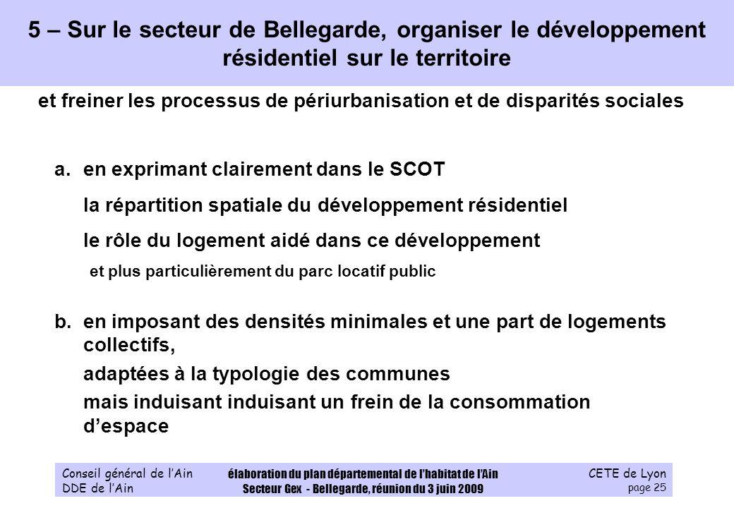CETE de Lyon page 25 Conseil général de lAin DDE de lAin élaboration du plan départemental de lhabitat de lAin Secteur Gex - Bellegarde, réunion du 3