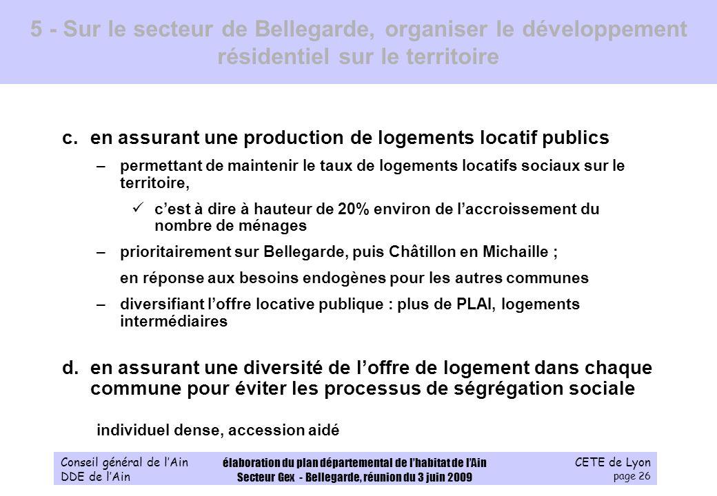 CETE de Lyon page 26 Conseil général de lAin DDE de lAin élaboration du plan départemental de lhabitat de lAin Secteur Gex - Bellegarde, réunion du 3