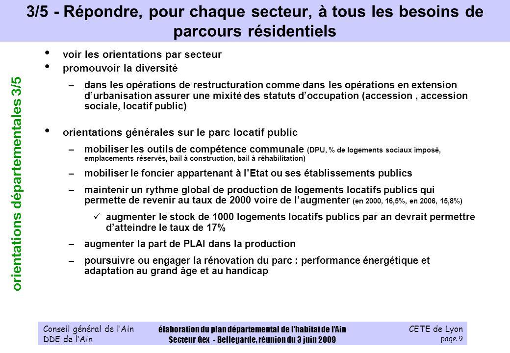 CETE de Lyon page 20 Conseil général de lAin DDE de lAin élaboration du plan départemental de lhabitat de lAin Secteur Gex - Bellegarde, réunion du 3 juin 2009 2 - Sur le Pays de Gex, se mobiliser pour assurer un logement aux ménages modestes g.