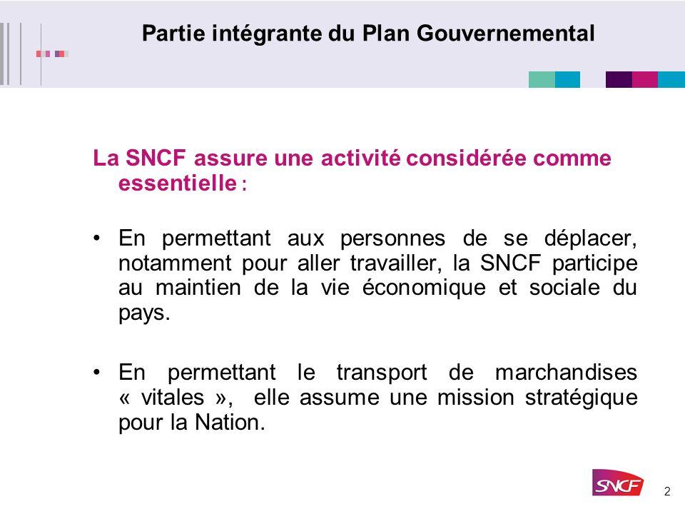 2 Partie intégrante du Plan Gouvernemental La SNCF assure une activité considérée comme essentielle : En permettant aux personnes de se déplacer, notamment pour aller travailler, la SNCF participe au maintien de la vie économique et sociale du pays.