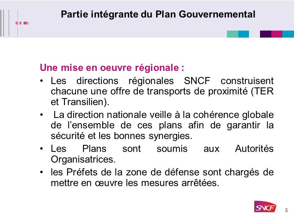 5 Partie intégrante du Plan Gouvernemental Une mise en oeuvre régionale : Les directions régionales SNCF construisent chacune une offre de transports de proximité (TER et Transilien).