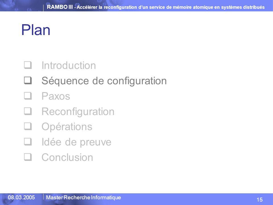 RAMBO III - Accélérer la reconfiguration dun service de mémoire atomique en systèmes distribués 15 08.03.2005Master Recherche Informatique Plan Introduction Séquence de configuration Paxos Reconfiguration Opérations Idée de preuve Conclusion