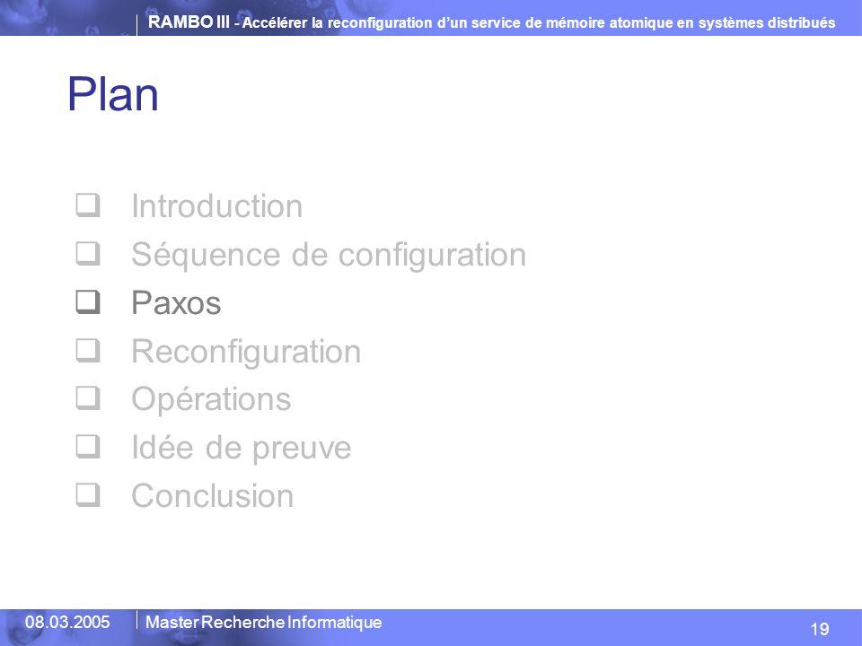 RAMBO III - Accélérer la reconfiguration dun service de mémoire atomique en systèmes distribués 19 08.03.2005Master Recherche Informatique Plan Introduction Séquence de configuration Paxos Reconfiguration Opérations Idée de preuve Conclusion