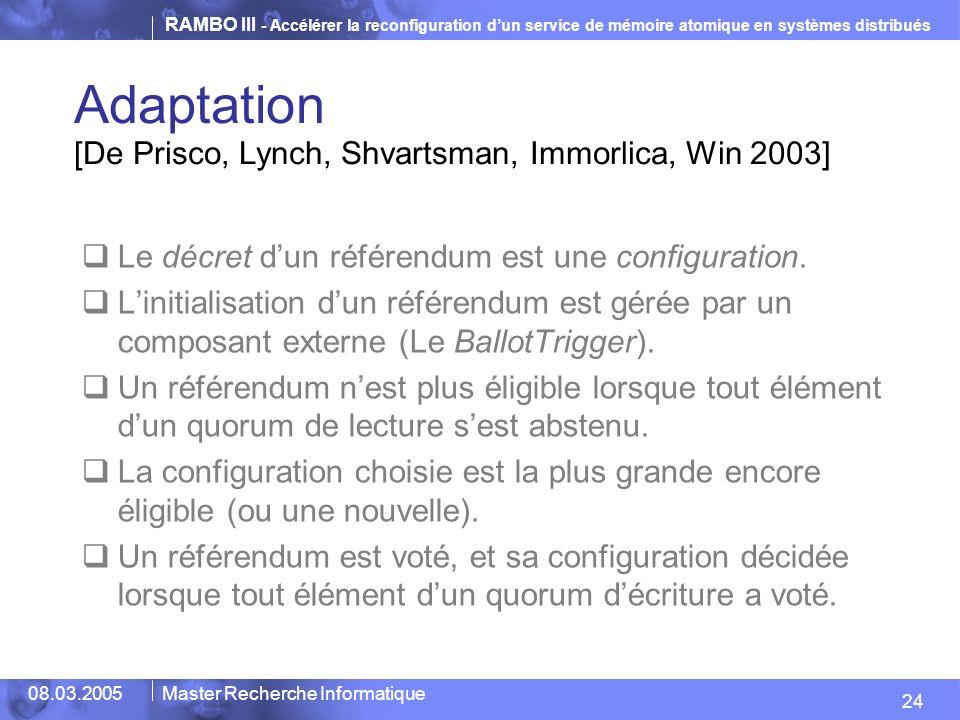 RAMBO III - Accélérer la reconfiguration dun service de mémoire atomique en systèmes distribués 24 08.03.2005Master Recherche Informatique Adaptation [De Prisco, Lynch, Shvartsman, Immorlica, Win 2003] Le décret dun référendum est une configuration.