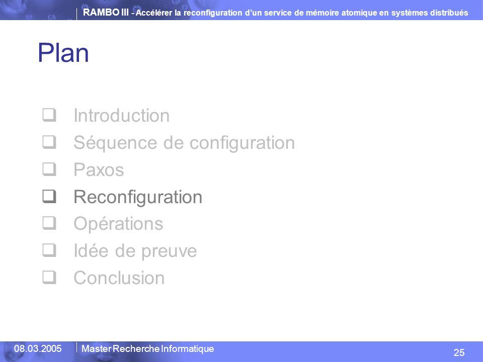 RAMBO III - Accélérer la reconfiguration dun service de mémoire atomique en systèmes distribués 25 08.03.2005Master Recherche Informatique Plan Introduction Séquence de configuration Paxos Reconfiguration Opérations Idée de preuve Conclusion