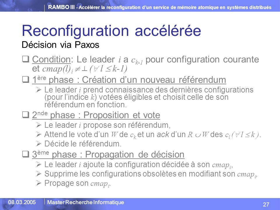 RAMBO III - Accélérer la reconfiguration dun service de mémoire atomique en systèmes distribués 27 08.03.2005Master Recherche Informatique Reconfiguration accélérée Condition: Le leader i a c k-1 pour configuration courante et cmap(l) i ( l k-1) 1 ère phase : Création dun nouveau référendum Le leader i prend connaissance des dernières configurations (pour lindice k ) votées éligibles et choisit celle de son référendum en fonction.