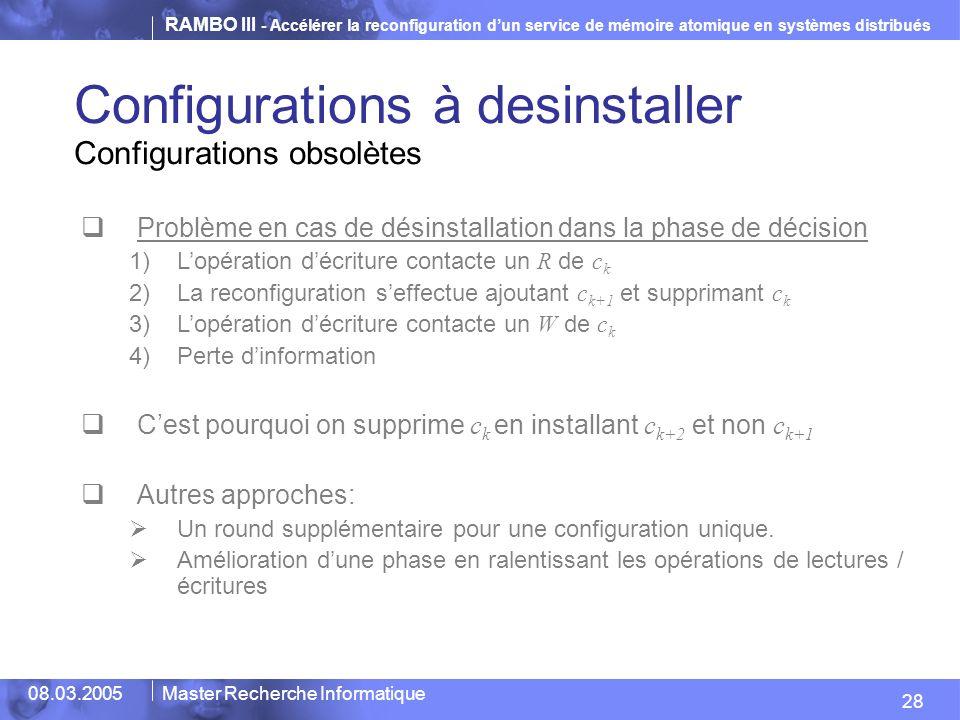 RAMBO III - Accélérer la reconfiguration dun service de mémoire atomique en systèmes distribués 28 08.03.2005Master Recherche Informatique Problème en cas de désinstallation dans la phase de décision 1)Lopération décriture contacte un R de c k 2)La reconfiguration seffectue ajoutant c k+1 et supprimant c k 3)Lopération décriture contacte un W de c k 4)Perte dinformation Cest pourquoi on supprime c k en installant c k+2 et non c k+1 Autres approches: Un round supplémentaire pour une configuration unique.