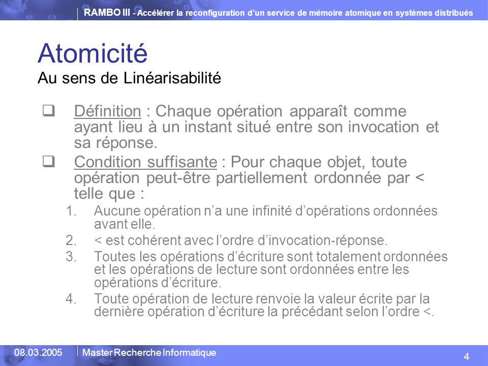 RAMBO III - Accélérer la reconfiguration dun service de mémoire atomique en systèmes distribués 4 08.03.2005Master Recherche Informatique Atomicité Au
