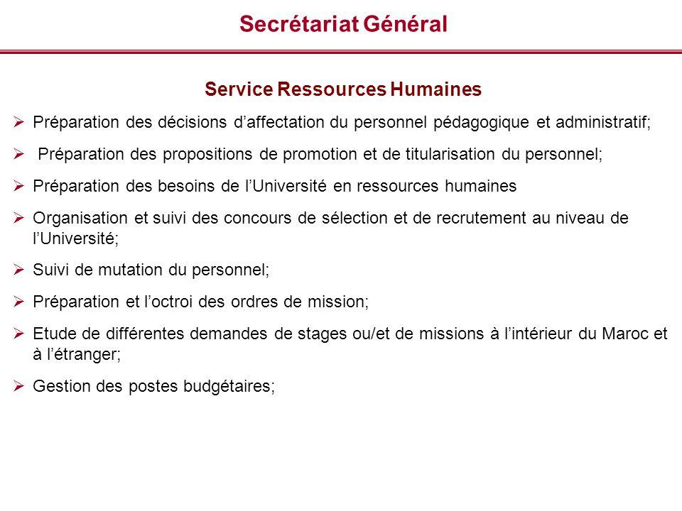 Secrétariat Général Service Ressources Humaines Préparation des décisions daffectation du personnel pédagogique et administratif; Préparation des prop