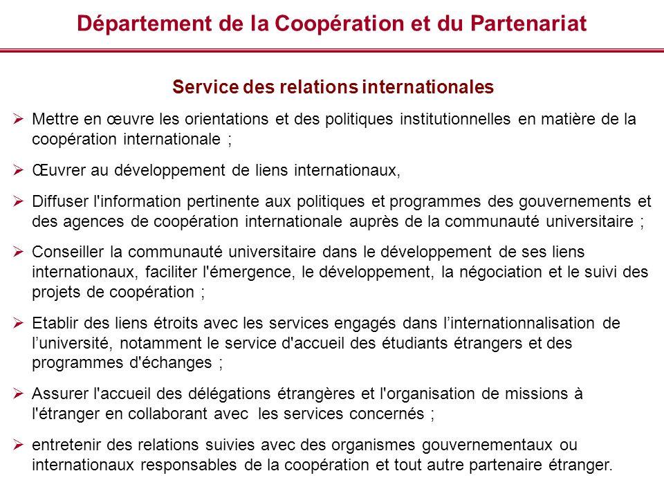 Département de la Coopération et du Partenariat Service des relations internationales Mettre en œuvre les orientations et des politiques institutionne