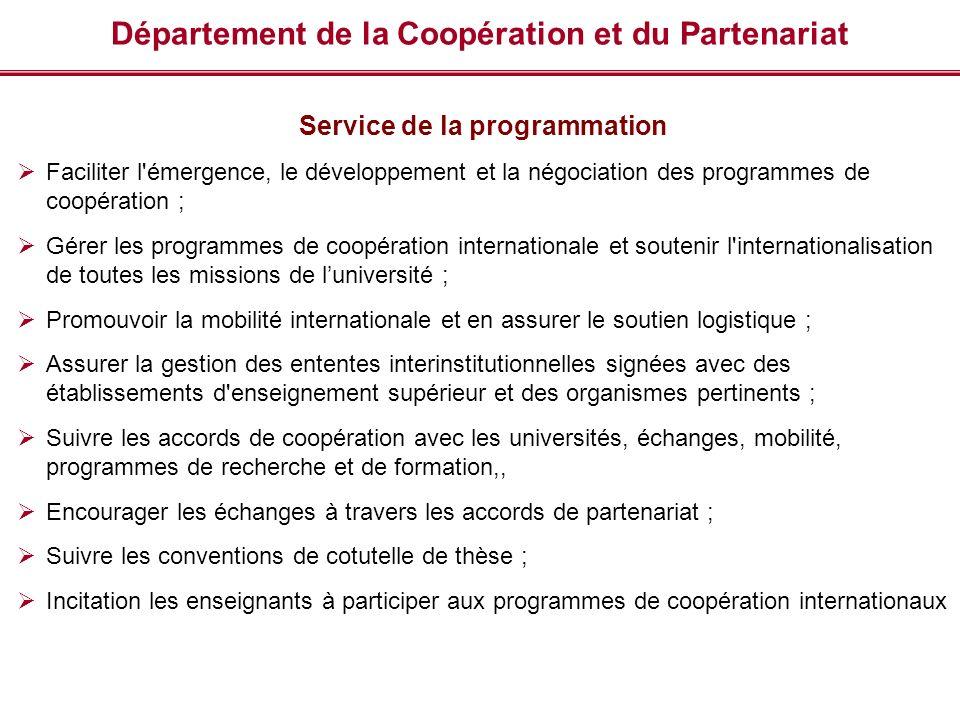 Département de la Coopération et du Partenariat Service de la programmation Faciliter l'émergence, le développement et la négociation des programmes d