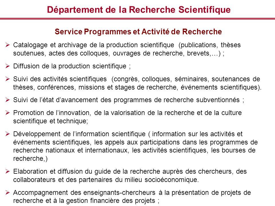 Département de la Recherche Scientifique Service Programmes et Activité de Recherche Catalogage et archivage de la production scientifique (publicatio