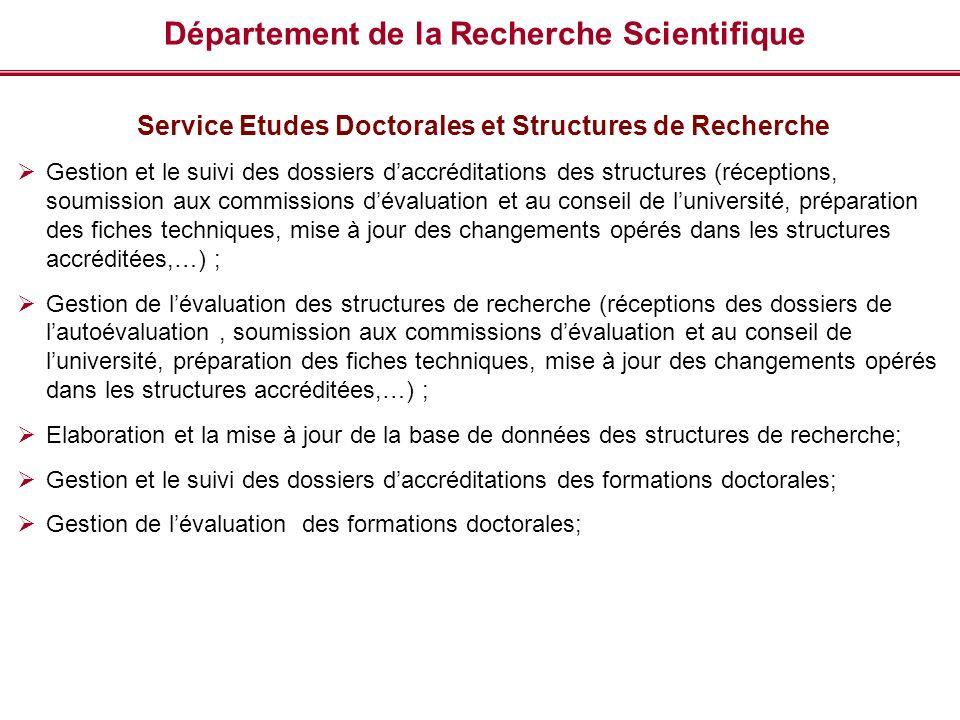 Département de la Recherche Scientifique Service Etudes Doctorales et Structures de Recherche Gestion et le suivi des dossiers daccréditations des str