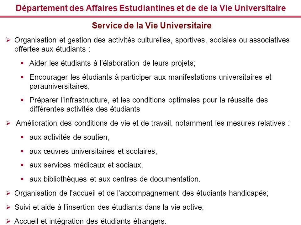 Département des Affaires Estudiantines et de de la Vie Universitaire Service de la Vie Universitaire Organisation et gestion des activités culturelles