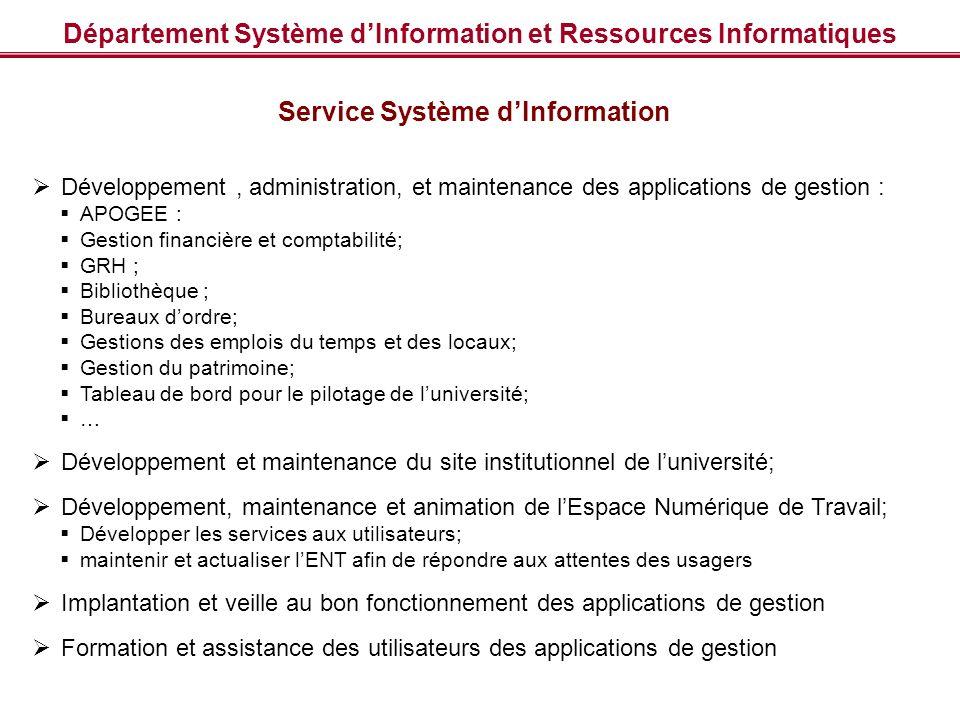 Département Système dInformation et Ressources Informatiques Service Système dInformation Développement, administration, et maintenance des applicatio