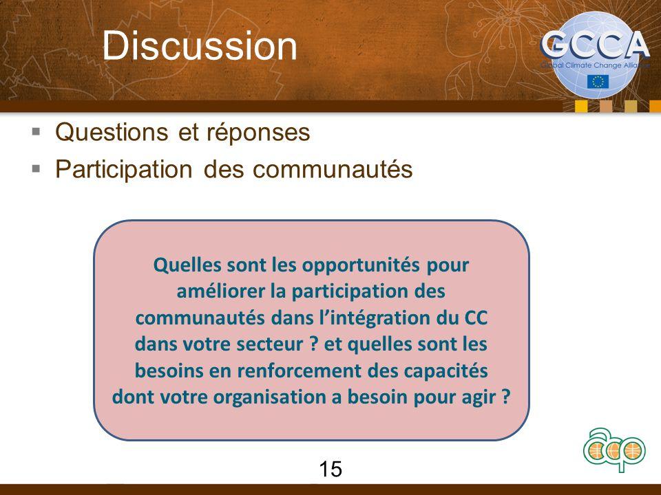 Discussion Questions et réponses Participation des communautés Quelles sont les opportunités pour améliorer la participation des communautés dans lintégration du CC dans votre secteur .