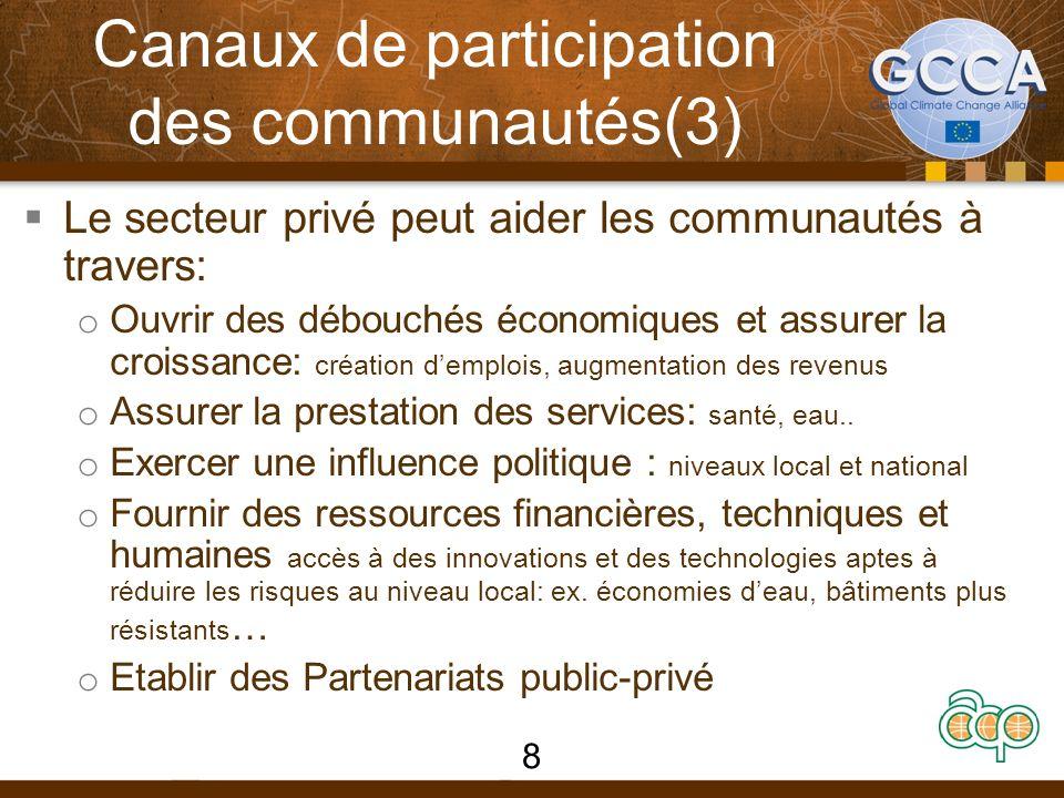 Canaux de participation des communautés(3) Le secteur privé peut aider les communautés à travers: o Ouvrir des débouchés économiques et assurer la croissance: création demplois, augmentation des revenus o Assurer la prestation des services: santé, eau..