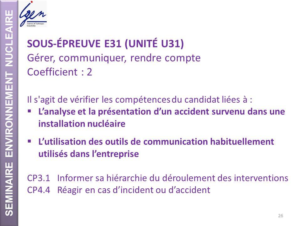 SEMINAIRE ENVIRONNEMENT NUCLEAIRE SOUS-ÉPREUVE E31 (UNITÉ U31) Gérer, communiquer, rendre compte Coefficient : 2 Il s'agit de vérifier les compétences