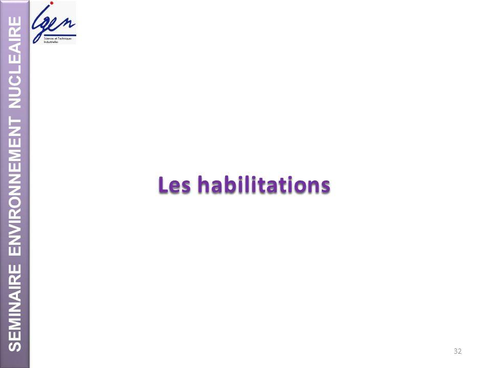 SEMINAIRE ENVIRONNEMENT NUCLEAIRE Les habilitations 32
