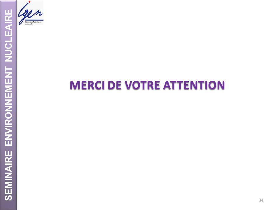 SEMINAIRE ENVIRONNEMENT NUCLEAIRE MERCI DE VOTRE ATTENTION 34