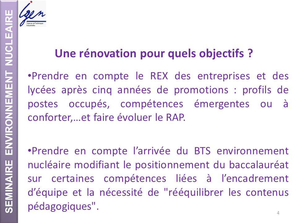 SEMINAIRE ENVIRONNEMENT NUCLEAIRE Une rénovation pour quels objectifs ? Prendre en compte le REX des entreprises et des lycées après cinq années de pr